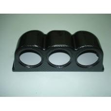 Caixa tripla carbono para 3 manometros 52mm